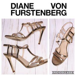 Diane Von Furstenberg Gold Viola Too Heels 7.5 B